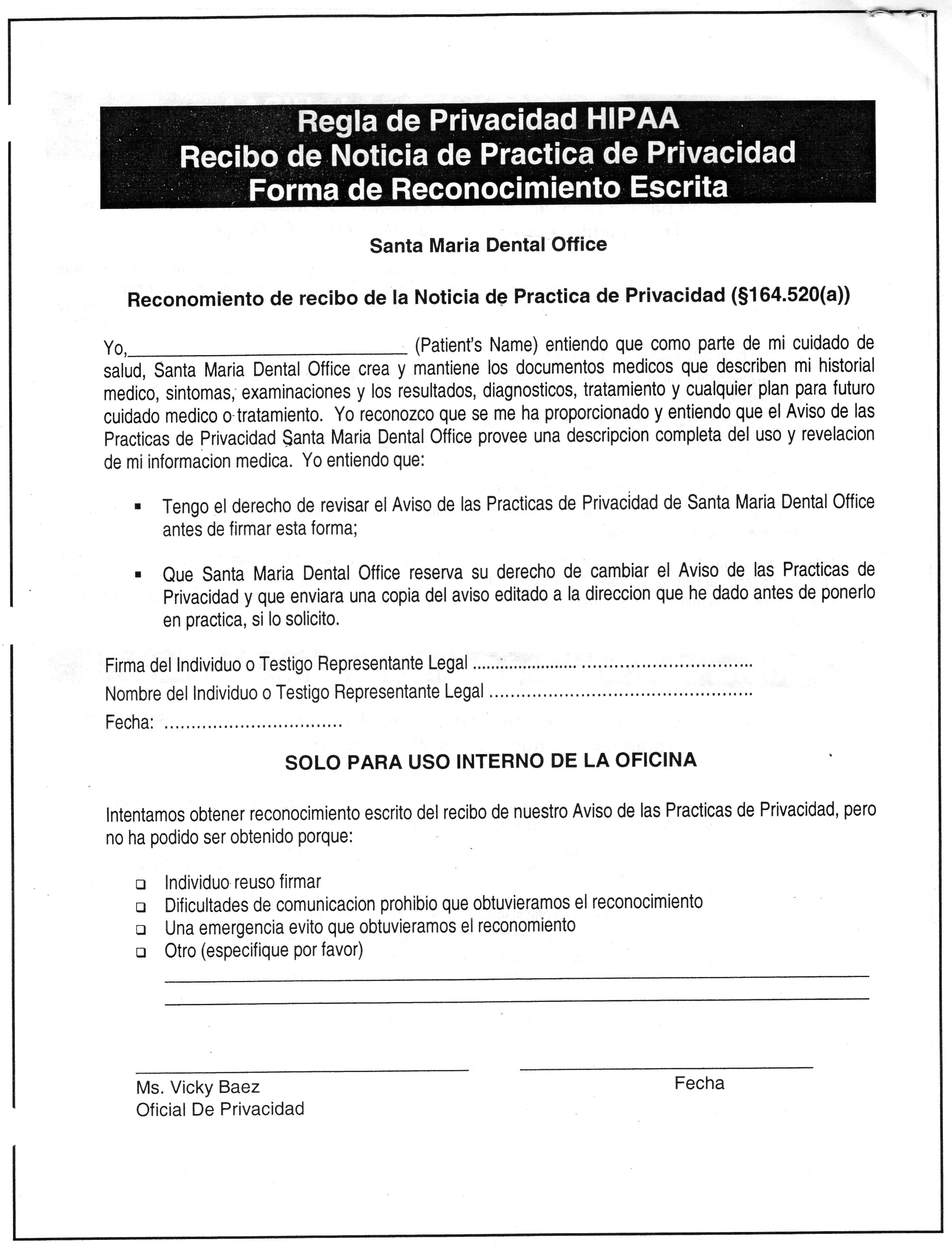 Santa Maria Dental Office on 2013 hipaa for dental offices, medical history forms for doctors offices, hipaa forms for dental offices, hipaa privacy forms for physicians offices, privacy statements for medical offices, hipaa sign in sheets medical, hipaa medical records form,